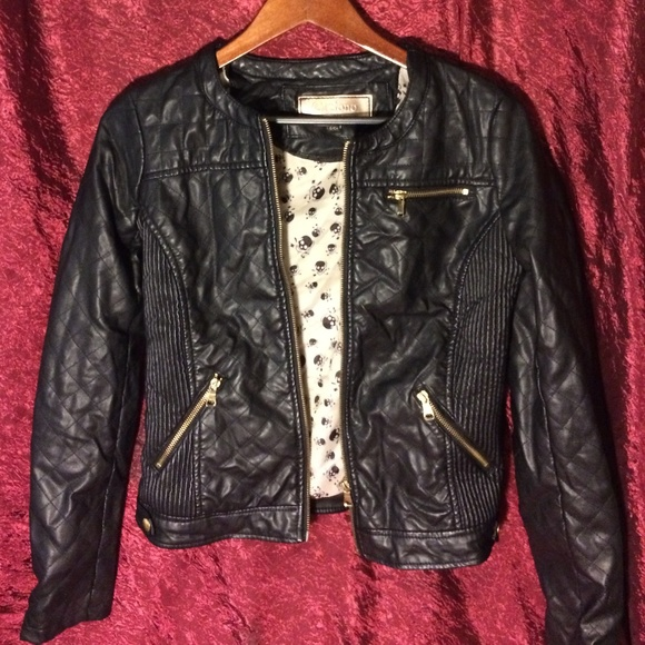 c99b453ff Faux Leather Jacket with Gold Zippers/Buttons